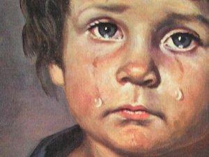 Close up jongen traan nurks - Schilderen kind jongen ...
